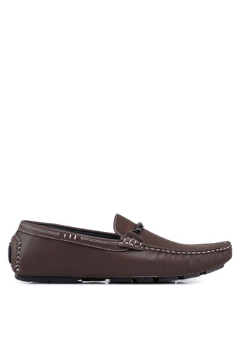 Rocklander brown Contrast Seam Loafers C2811SHB6B6517GS_1