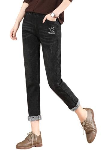 A-IN GIRLS black Elastic Waist Warm Jeans (Plus Cashmere) F6E23AAF2CF9B1GS_1