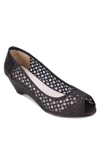 透膚蕾絲露趾esprit專櫃楔形跟鞋, 女鞋, 鞋