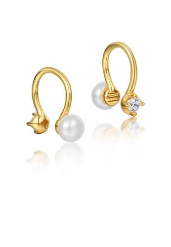 SUNSET gold Premium 925 Sliver Pearl Earring DC9B6AC94BEB84GS_1