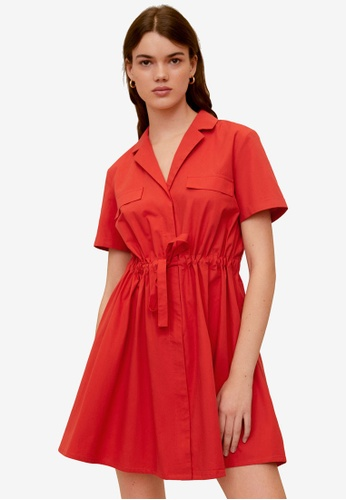 Mango orange Adjustable Drawstring Cotton Dress 6BA2DAA5426F93GS_1