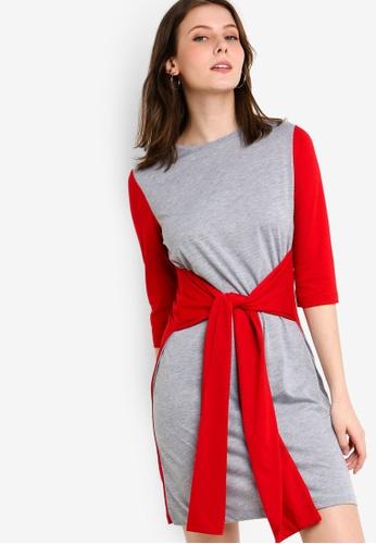 ZALORA orange Tie Detail Long Sleeves Tee Dress 838C9AA3DAC9F2GS_1