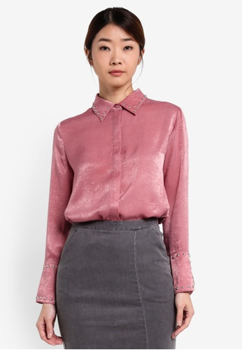Something Borrowed pink Studded Satin Shirt 8D4F8AA701A63EGS_1