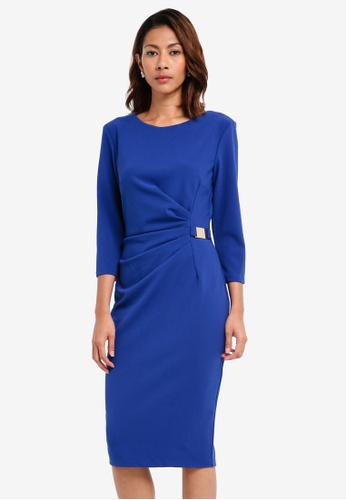 Goddiva blue Long Sleeved Mini Dress With Buckle Detail 1AF88AA70D24C2GS_1