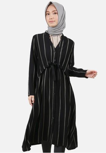 QUEENSLAND black Dress Long Front With Drawstring B10124Q Hitam BE797AA68ECE4DGS_1