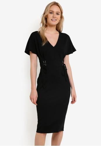 Miss Selfridge black Black Corset Midi Dress MI665AA0RI2CMY_1