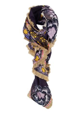 拼貼印花圍巾, 飾品配件,zalora鞋 披肩