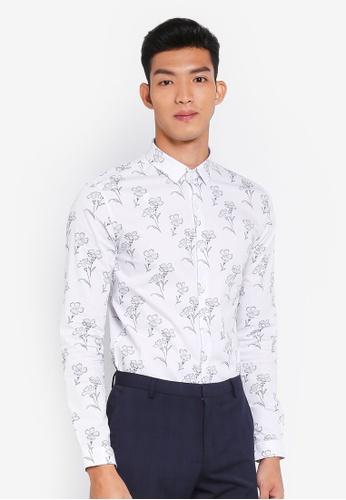 Topman 白色 花卉長袖襯衫 32AFFAAD281EF8GS_1