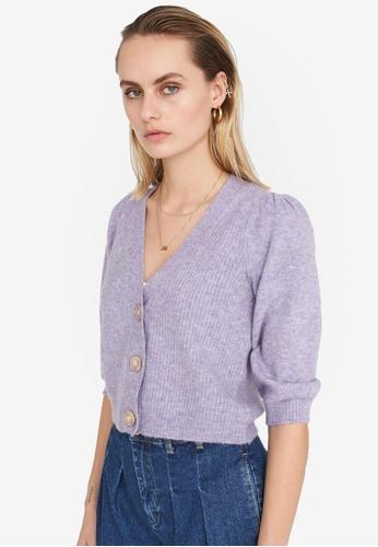 Noisy May purple Lilje V-neck Cardigan 611B1AA4B3D8FAGS_1
