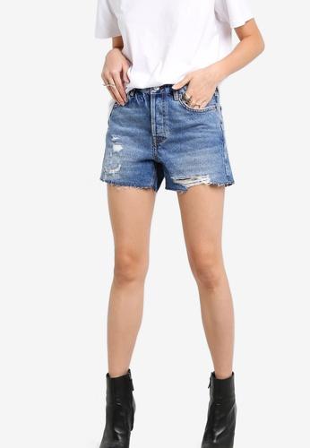 TOPSHOP blue Moto Rip Boyfriend Shorts TO412AA75NHKMY_1