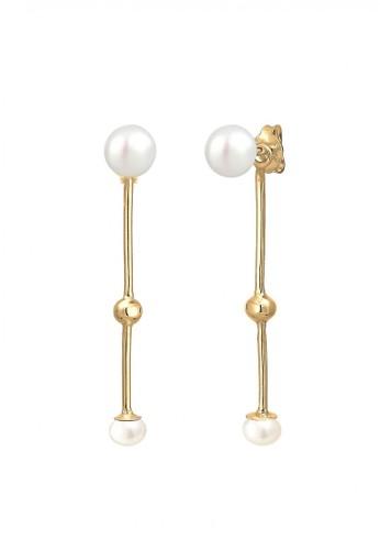 Elli Germany gold Perhiasan Wanita Perak Asli - Silver Anting Dangle Mutiara Air Tawar Lapis Emas A5E1CAC62757ADGS_1