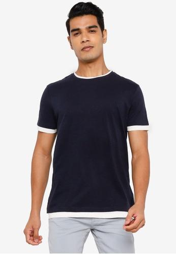 Springfield navy Double T-Shirt 14F88AABA6CD54GS_1
