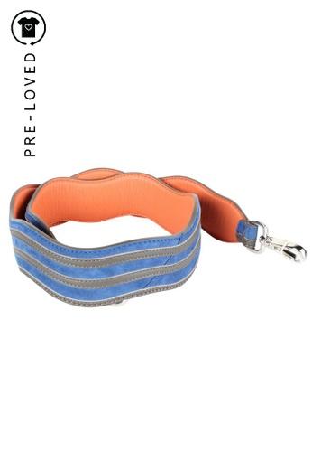 Fendi blue Pre-Loved fendi Blue Suede and Orange Leather Bag Strap AA7A8ACBB69957GS_1