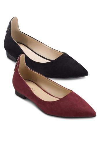 二人組交叉繫帶尖zalora 內衣頭皮平底鞋, 女鞋, 芭蕾平底鞋