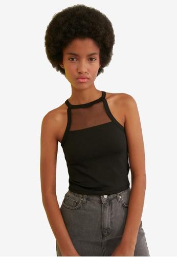 Trendyol black Mesh Detail Cami Top 5CD3FAA3111992GS_1
