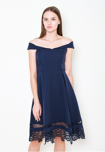 Leline Style blue Maya Offshoulder Dress B439EAAB03C042GS_1