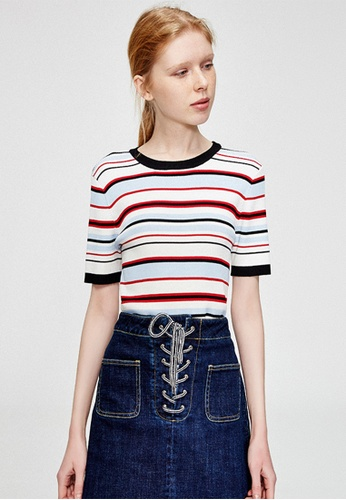 Hopeshow white and red and blue Knitted Tshirt with Stripes FFFD3AA8850963GS_1