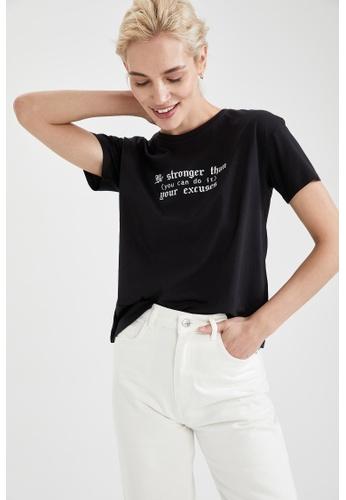 DeFacto black Short Sleeve Printed Cotton T-Shirt EA367AA729BBFCGS_1