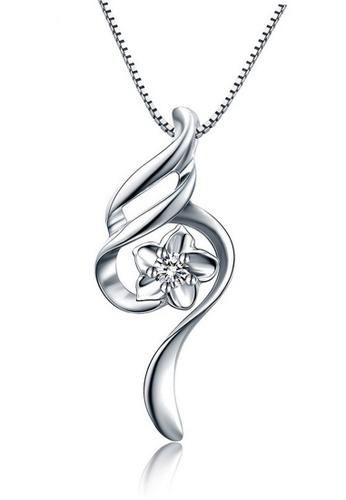 LYCKA silver LFF1232-LYCKA-S925 Silver White Zircon Plum Necklace -Silver LY529AC0HACGSG_1