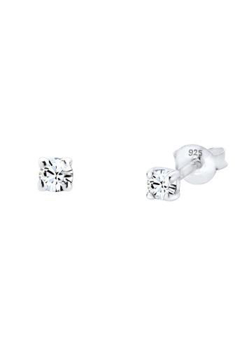 Elli Germany white 925 Silver Classic with Swarovski® Crystals Earrings EL474AC99GRKMY_1