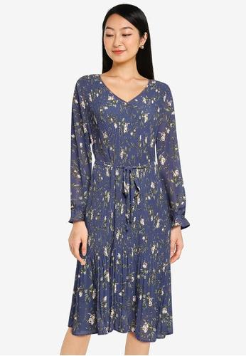 JACQUELINE DE YONG blue Emma Long Sleeves Pleat Below Knee Dress 0B331AA37B51D9GS_1