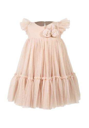 Spinkie beige Le Pom-Pom Tutu Dress 65AE9KA1A43C18GS_1