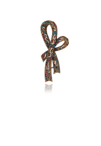 Glamorousky silver Simple and Elegant Plated Gold Ribbon Brooch with Colorful Cubic Zirconia CDF21AC6A64BE9GS_1