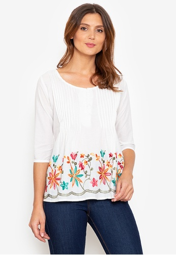 Beyond The Seams white Reena Cotton Embroidered Front Pleated 3/4 Sleeves Blouse C01D1AADF480C6GS_1