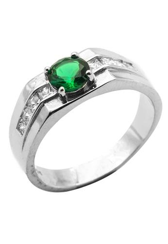 Elfi silver Elfi 925 Genuine Silver Engagement Ring R53 (Green) - Crescendo E5EDDACB702FC6GS_1