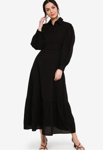 Zalia black Placement Print Shirt Dress 72760AAEBEA9F5GS_1
