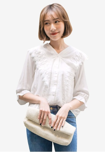 Tokichoi white Lacy Textured Buttoned Blouse 91F0AAA43462E6GS_1