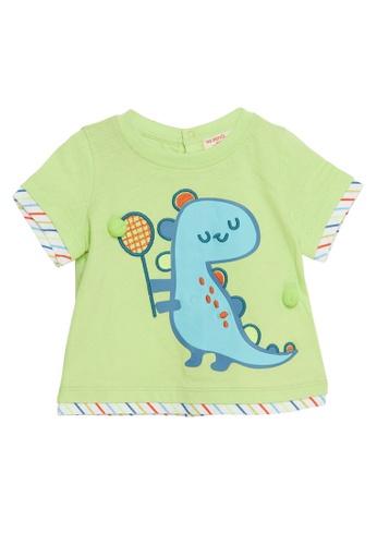 Du Pareil Au Même (DPAM) green Dinosaur Tennis T-Shirt 253D9KA1E733BBGS_1
