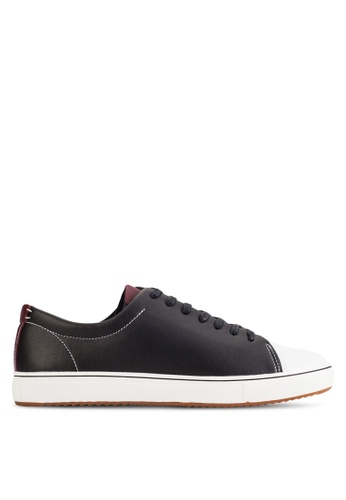 UniqTee black Cap-Toe Suede And Leather Sneakers UN097SH02KFPMY_1
