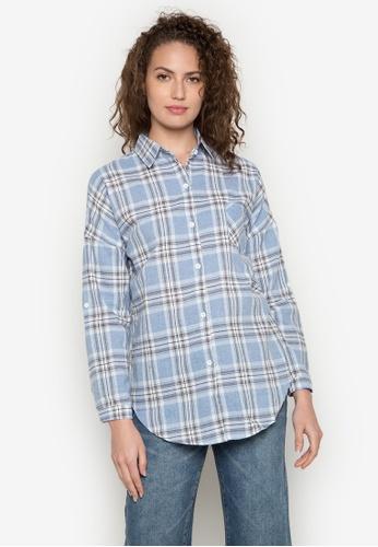 Chase Fashion blue Plaid Flannel Shirt F8E21AA9981B76GS_1