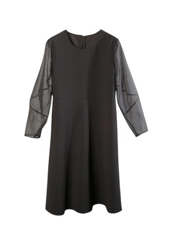 Giordano Ladies black Twill Knit Sculptural Organza Sleeve Dress ECAFCAA7418CCBGS_1
