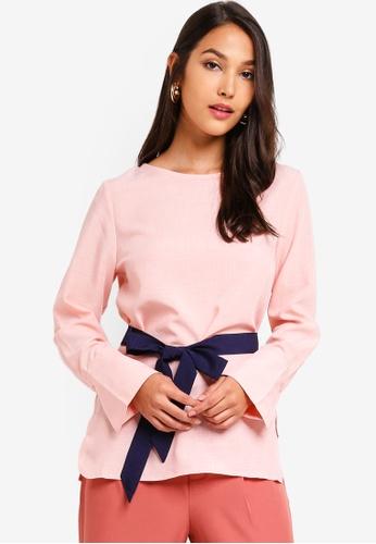ZALORA 粉紅色 綁帶長袖上衣 20ACDAACFDE819GS_1