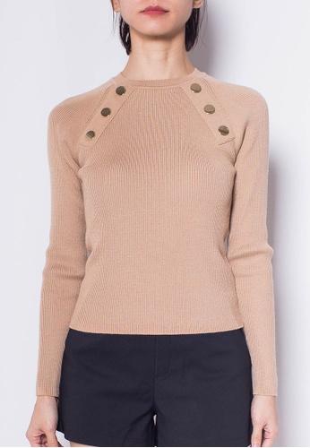 SUB Women Golden Buttons Long Sleeve Knit Top 92178AAF2A3266GS_1