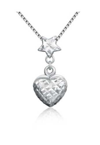 MaBelle silver 14K/585 White Color Gold Hearts Stars Pendant Necklace C9058AC54A31AEGS_1