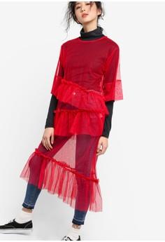 【ZALORA】 韓國時尚荷葉飾縫合透視連身裙