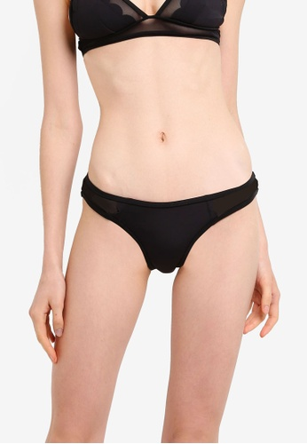 River Island black Scuba Scallop High Leg Bikini Bottoms 2DCFDUSB333F88GS_1