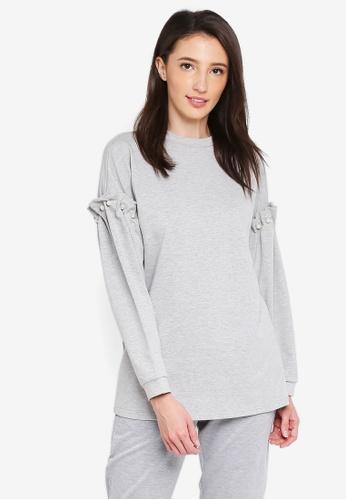 Zalia grey Pearl Embellished Long Sweater 7E97EAA213B6F7GS_1