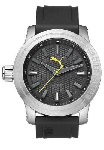 Puma Watches black PU103991003 Impulse 3H Silver Grey Yellow PU Strap Men Watch PU549AC0RKLFMY_1