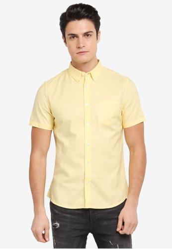 Burton Menswear London yellow Short Sleeve Oxford Shirt 64B15AA90973FCGS_1