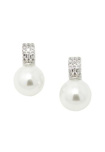 Jaysa Collection silver Pearl Allure Earrings (Platinum Colour) JA875AC38SYFSG_1
