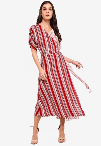 ZALORA orange and multi Kimono Sleeves Wrap Midi Dress 2F364AA21D1A10GS_1