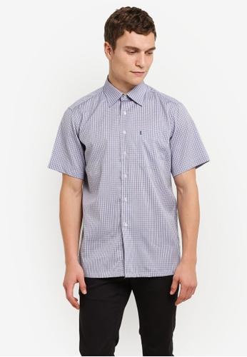 BGM POLO blue Men's Short Sleeve Checkered Shirt BG646AA0S0KFMY_1