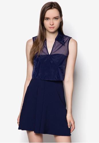 薄紗短版襯esprit hk store衫平口洋裝, 服飾, 洋裝