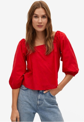 Mango red Broderie Blouse 63176AA53B38A5GS_1