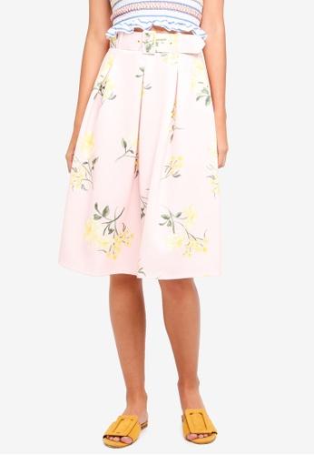 Miss Selfridge pink Pink Floral Print Skirt 0DD5EAA1E9327FGS_1