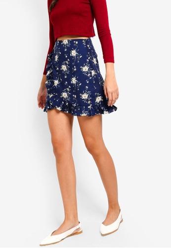 ZALORA navy Mini Skirt With Ruffles 7F337AA28A3E3CGS_1